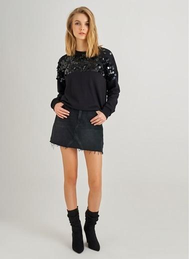Monamoda Payet İşlemeli Sweatshirt Siyah